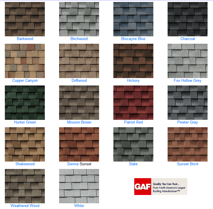 Roofing shingle colors viral infections blog articles for Names of roofing materials